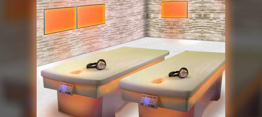 lit de relaxation chauffant - Mur de briques de sel